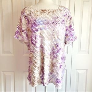 Alfred Dunner 1X Lavender Floral Ruffle Blouse